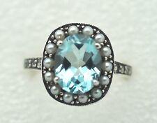 Blau Topas Saat Perle Topase Ring Gr 55 Silber 925  ANTIK STYLE Sterlingsilber
