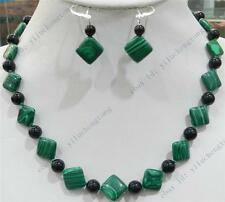 SQUARE GREEN GORGOUESE MALACHITE & INDIA BLACK AGATE ROUND BEAD NECKLACE EARRING