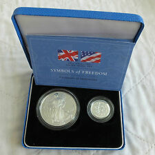 1997 SYMBOLS OF FREEDOM SILVER PROOF EAGLE & £1 2 COIN SET- mintage 1500