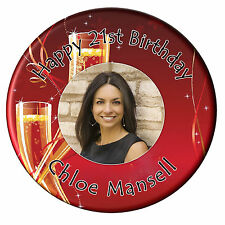 Personalised Champagne 18th 21st 30th Happy Birthday PHOTO Pin Badge 75mm N33