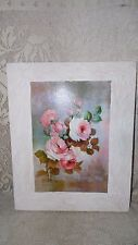 VINTAGE PAINTING ON WOOD FLORAL PINK ROSES SIGNED LOLA ADES