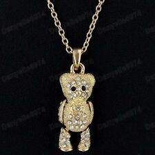 CUTE moving limbs CRYSTAL TEDDY BEAR pendant NECKLACE&CHAIN gold pltd RHINESTONE