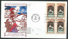 1969 USA FDC CALIFORNIA QUARTINA TIMBRO ARRIVO - V