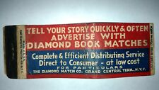 "RARE OLD Vintage ""ADVERTISE WITH DIAMOND BOOK MATCHES"" matchbook.MADE IN USA"