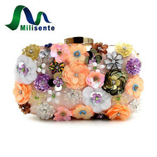 Milisente Women Bag Lady Clutch Purse Colorful Flower Beaded Bridal Wedding Bags
