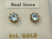 9ct Yellow Gold 6mm Round Blue Topaz Stud Earrings -  Claw Set - Boxed