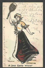 Ca 1903 PPC* VINTAGE VALENTINE LADY TENNIS PLAYER A LOVE GAME WINNER SEE INFO