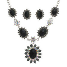 Silver Toned Necklace With Black Rhinestones and Matching Post Stud Earrings