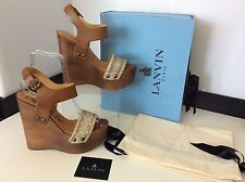 Lanvin Wedges Python, Brown Wood, Shoes, Uk 5, Eu38, RRP £640, New Sandal