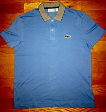 New Mens Authentic Lacoste Contrast Collar Polo Blue Shirt- L