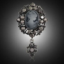 XL Brosche Kamee Vintage Gemme Kristall 71mm X 41mm Grau Antik Blumen