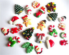 22 MIXED CHRISTMAS TREE SNOWMAN GINGERBREAD CANE BELLS FLATBACKS CABOCHONS RESIN