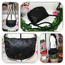 �� COUTURE UNBRANDED BLACK TOOLED FLAP CROSSBODY/PURSE/HANDBAG! ��