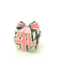 STERLING SILVER FINISH PINK BOW PARCEL, PRESENT GIFT, BOX CHARM BEAD