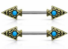 PAIR Tribal Spear w/Turquoise Nipple Barbells Rings Body Jewelry 14g w/ 14mm bar