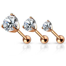 3 Pc CZ Set Gold IP Surgical Steel Helix Tragus Cartilage Barbell Stud Earring