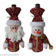 2 PACK x Luxury Santa & Snowman Christmas Bottle - Gift Bags - Red Gold