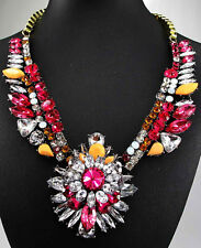 Hot Fashion Style Chain Crystal Flower Bib Big Statement charm chunky Necklace