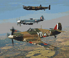 "WW2 Memorial Fly Past Full Counted  Cross Stitch Kit 18ct 12"" x 10"" Transport"
