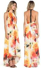 $597 NWT Alice+Olivia Ryan High Neck Leather T-Back Maxi Dress Sunset Blur Sz 0