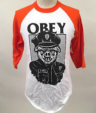 Obey Men's Baseball T-Shirt Sausage Patrol White/Orange Size M NWT Police Cops