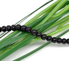 4mm JET BLACK Round Glass Pearls about 210 beads bgl0407