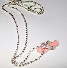 """Girls/Womens Avon Pink Silver Flip Flop Necklace 15"""" chain with 3"""" extender"""