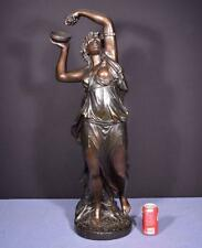 "*37"" Tall Antique Bronzed Plaster Sculpture of a Woman with Grapes by Clodion"