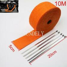 "2"" x 10M Orange Exhaust Heat Wrap Manifold Downpipe High Temp Bandage Tape Roll"