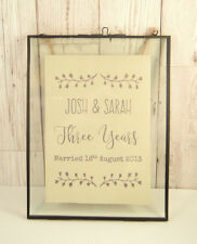Printed Leather in Vintage Glass Frame 3rd Wedding Anniversary Gift Personalised