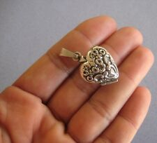 Antiqued 925 Sterling Silver Filigree Design Picture Holder Heart Locket Pendant