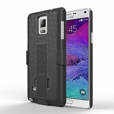 Samsung Galaxy Note 4 Rugged Slide Holster Bell Clip Case Cover w Kickstand BK J