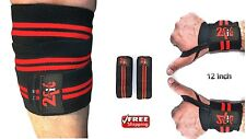 2Fit KNEE WRAPS WEIGHTLIFTING GYM TRAINING WITH WRIST WRAPS HAND BANDAGE STRAPS