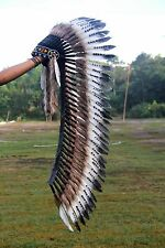 Long feather headdress, Indian costume, native american style, feather headpiece