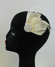 Ivory & Silver Rhinestone Peacock Feather Fascinator Hair Clip Vintage 1920s U59