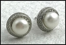 VINTAGE .925 Sterling Silver, 8mm Pearls & Cubic Zirconia Trim Earrings, Posts
