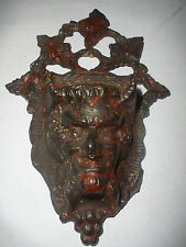 19thc Antique Devil or Baucus Cast Iron Wall Match Safe box holder
