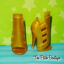 MONSTER HIGH CLAWDEEN WOLF SISTERS DOLL REPLACEMENT GOLD HEELS SHOES ONLY