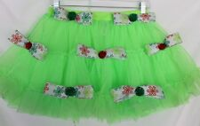 Deb Rottum's Ugly Tacky Christmas Sweater TuTu Skirt  Size M   Lime Green