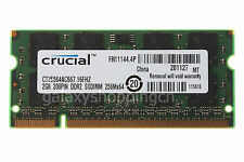 Crucial 2GB PC2-5300S 2RX8 DDR2-667MHz PC2-5300 200PIN SODIMM Laptop RAM Memory