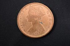 1901 Hong Kong One Cent Coin. High Grade. Red