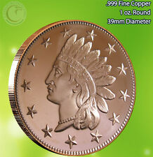 Indian Head Penny with Stars 1 oz .999 Copper Round