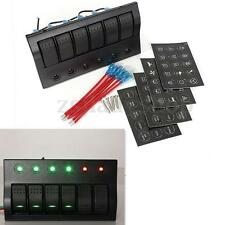 6 GANG WATERPROOF MARINE BOAT CAR CIRCUIT LED ROCKER SWITCH PANEL BREAKER 12/24V