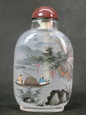 Chinese Person Scenery Word Inside Hand Painted Glass Snuff Bottle:Gift Box
