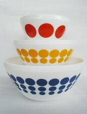 6-pc PYREX Vintage Charm SPOT ON Mixing Bowl Set Opal Glass DOTS Red Yellow Blue