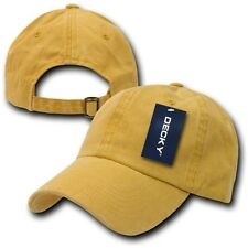 Yellow Pigment Dyed Washed Polo Style Cotton Low Crown Baseball Ball Cap Hat