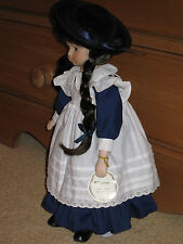 Alberon Collector's Doll Jennifer Blue Porcelain Doll STAMPED + BOXED Pinafore