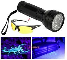 395nm 51LED UV Blacklight CSI Flashlight Torch Scorpion Hunter Finder+UV Glasses