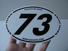 "Ham Amateur Radio Car Decal Bumper Sticker Black White Oval 73 Best Regards 6""in"