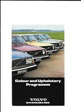 VOLVO 244, 245, 264 AND 265 COLOURS AND UPHOLSTERY SALES BROCHURE 1977